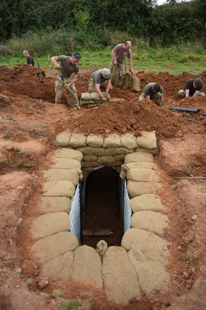 Army Reserve Royal Engineers from West Midlands and South Wales construct battle trench during weekend training