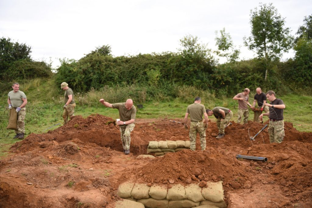 Army Reserve Royal Engineers from Birmingham, Cannock and Stoke-on-Trent construct battle trenches as part of weekend field fortification training