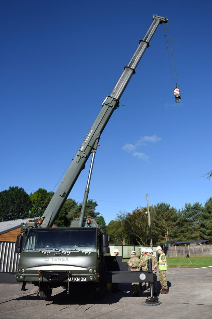 Army Reserve Royal Engineers from South Wales and Midlands train to assist crane operators as slingers