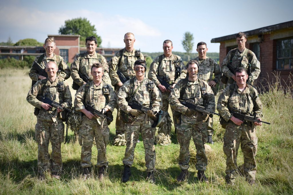 The Royal Monmouthshire Royal Engineers (Militia) 2016 Cambrian Patrol team after a weekend practicing patrolling skills, fieldcraft and navigation.