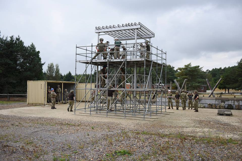 Reserve Royal Engineers fro Birmingham, Stoke, Bristol, Cwmbran, Cardiff and Swansea construct a sangar during force protection training at Gibraltar Barracks