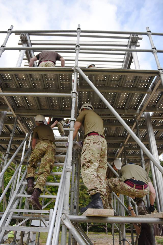 Reserve Royal Engineer sappers from Bristol, Cwmbran, Swansea, Birmingham and Stoke construct a sangar at Gibraltar Barracks