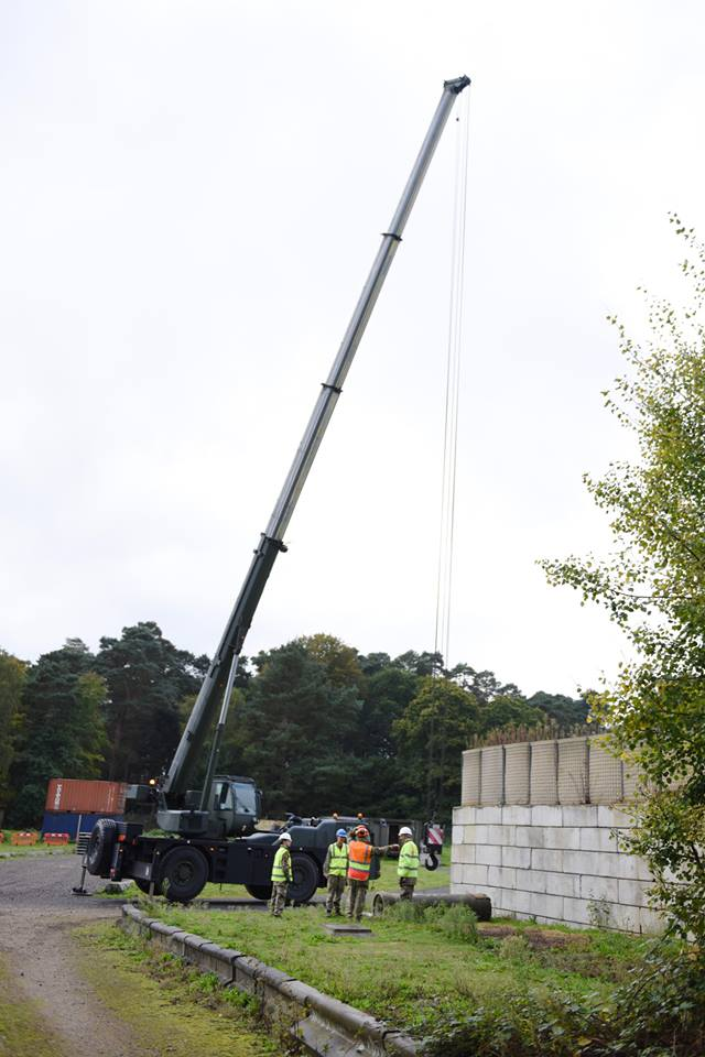 Reserve Royal Engineers from Cwmbran, Cardiff, Swansea, Bristol, Birmingham and Stoke operate a crane in force protection training at Gibraltar Barracks