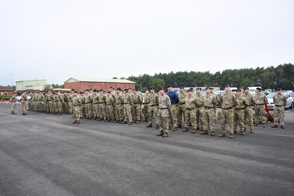 Reservist Royal Engineers parade at Gibraltar Barracks before conducting combat engineering training