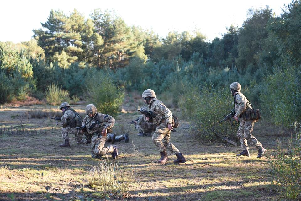 Reserve Royal Engineers carry out an infantry soldier attack at Gibraltar Barracks