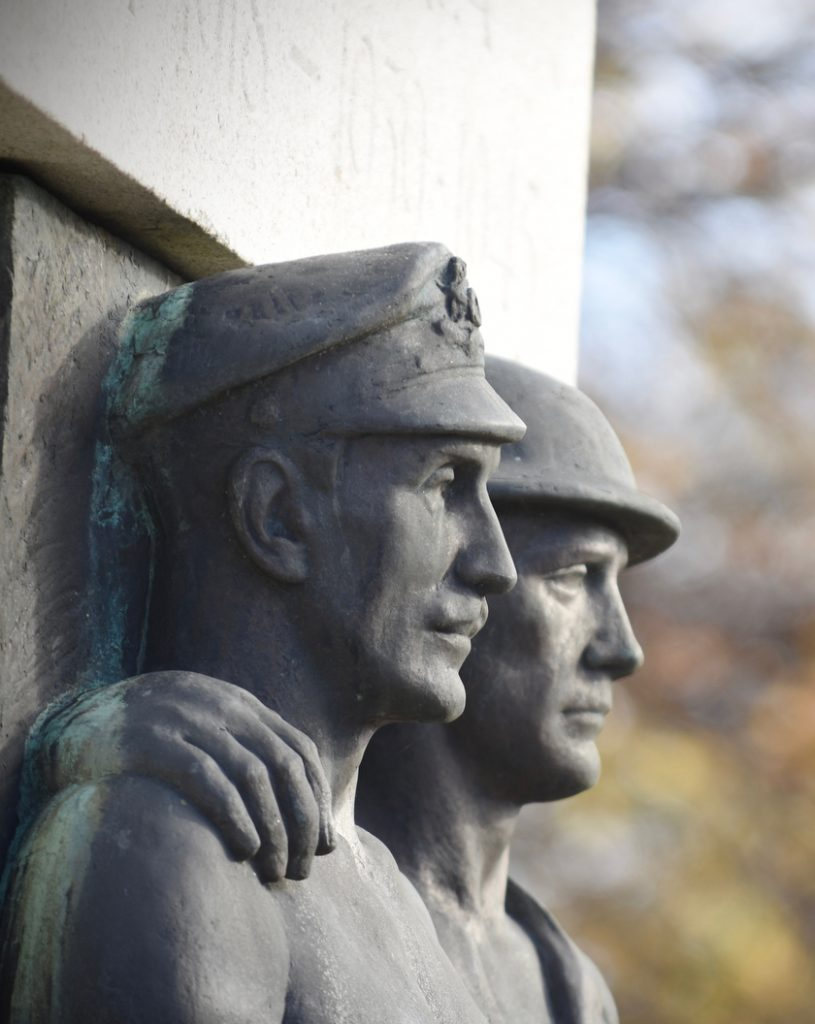 Llanelli War Memorial - close up, brothers in arms.