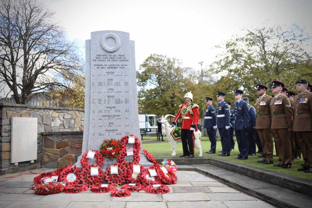 Llanelli War Memorial with wreaths laid