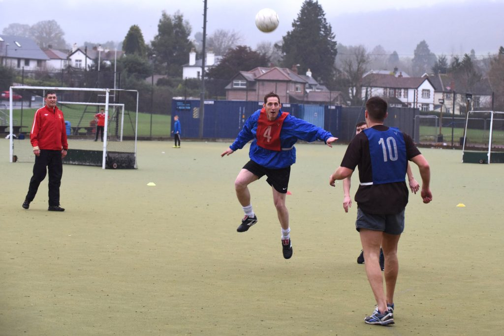 A soldier of The Royal Monmouthshire Royal Engineers leaps into a header at the 2016 Christmas weekend