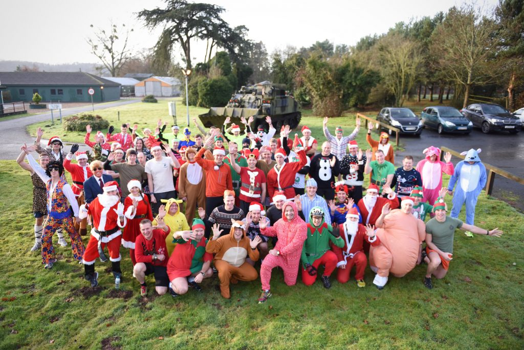 Officers and soldiers of The Royal Monmouthshire Royal Engineers (Militia) before the Commading Officer's Fun Run at the 2016 Christmas weekend