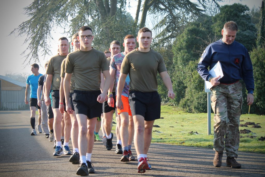 Army Reserve Royal Engineer recruits of the R Mon RE(M) conducting fitness training in Monmouth, Wales