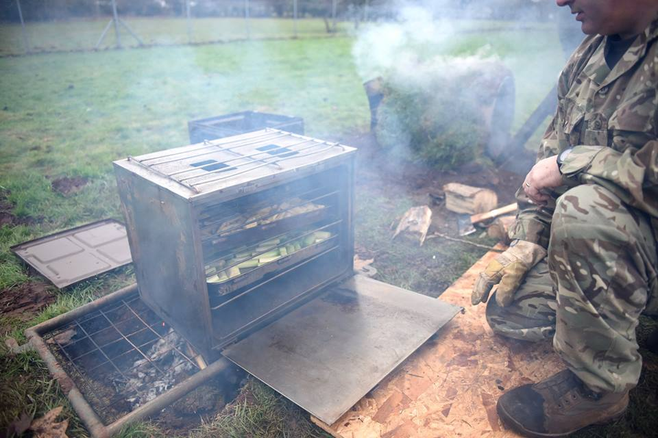 Army Reserve chefs train using improvised stoves at 160 Infantry Brigades chefs' conference in Wales 2017