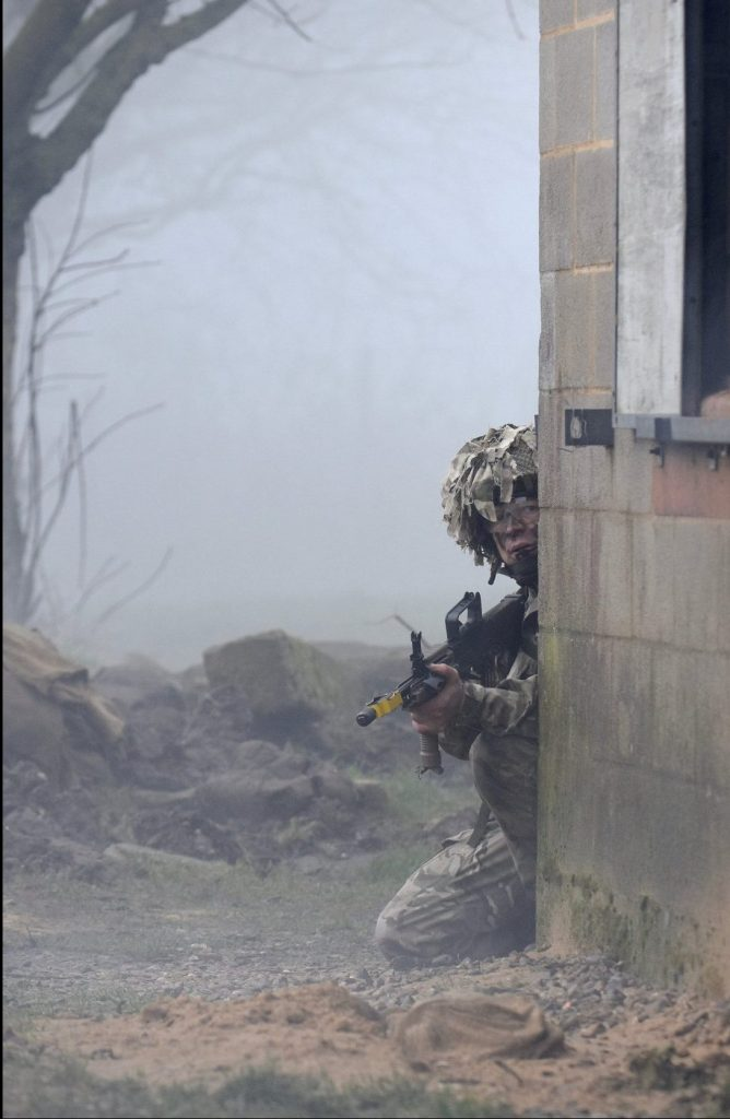 Army Reserve Royal Engineer soldiers of The R Mon REM South Wales sub unit conducting FIBUA training