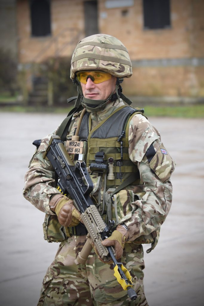 An Army Reserve Royal Engineer soldier of The R Mon REM South Wales sub unit prepared for FIBUA training