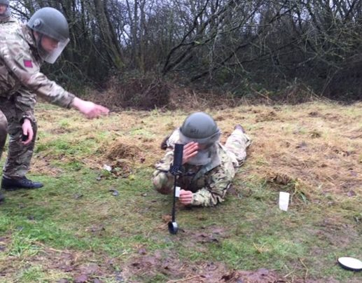 Army Reserve soldiers of 225 Field Squadron, The R Mon REM carry out mine clearance training