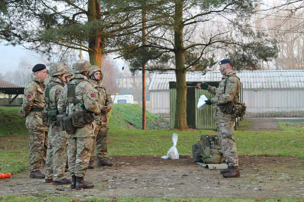 Army Reserve Royal Engineer recruits prepare for training