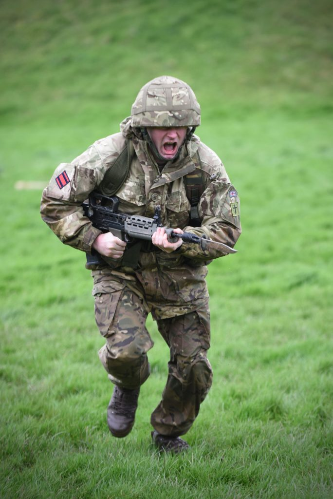 Army Reserve Royal Engineers of The R Mon RE(M) undertake bayonet training in South Wales
