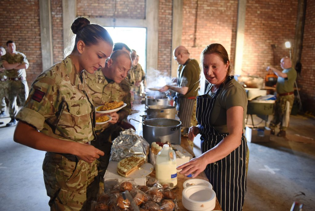 Army Reserve Royal Engineers from South Wales, Monmouth and the West Midlands are fed in the field by their own chef support from a field kitchen. This training is leading up to #ExRESOLUTECASTLE