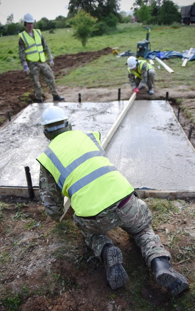 Army Reserve Royal Engineers from the West Midlands and South Wales based sub-units of The Royal Monmouthshire Royal Engineers (Militia) brush up on their concreting skills