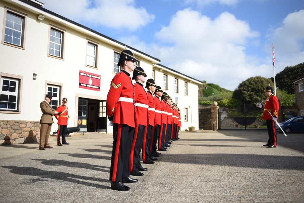 Reserve Royal Engineer soldiers of Jersey Field Squadron on parade for Jersey Liberation Day 2017