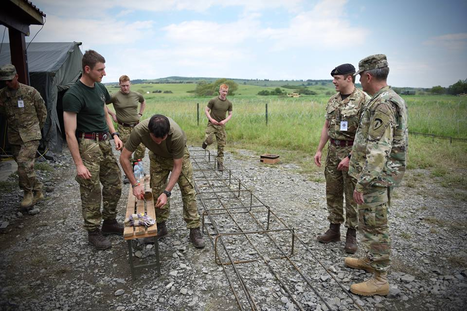 Army Reserve Royal Engineers training in Romania on #ExRESOLUTECASTLE are visited by Brigadier General Jolly of the US Army