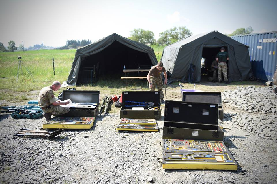 Army Reserve Royal Engineers from Wales, Bristol and Monmouth training in Romania on #ExRESOLUTECASTLE check over artisan toolkits in readiness for their tasks ahead.