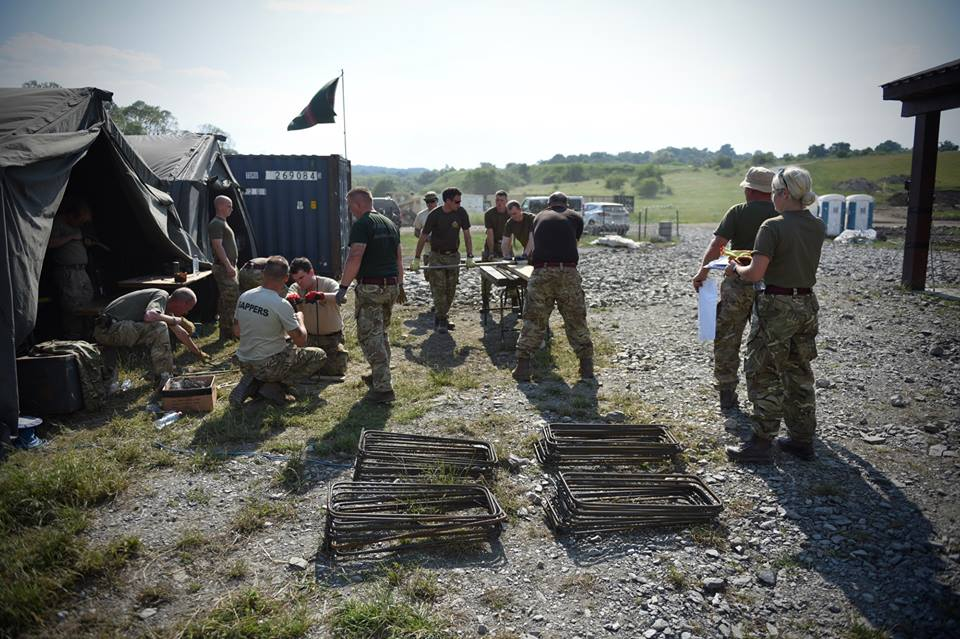 Army Reserve Royal Engineers from Wales, Bristol and Monmouth training in Romania on #ExRESOLUTECASTLE prepare equipment and stores for use on Cincu training area