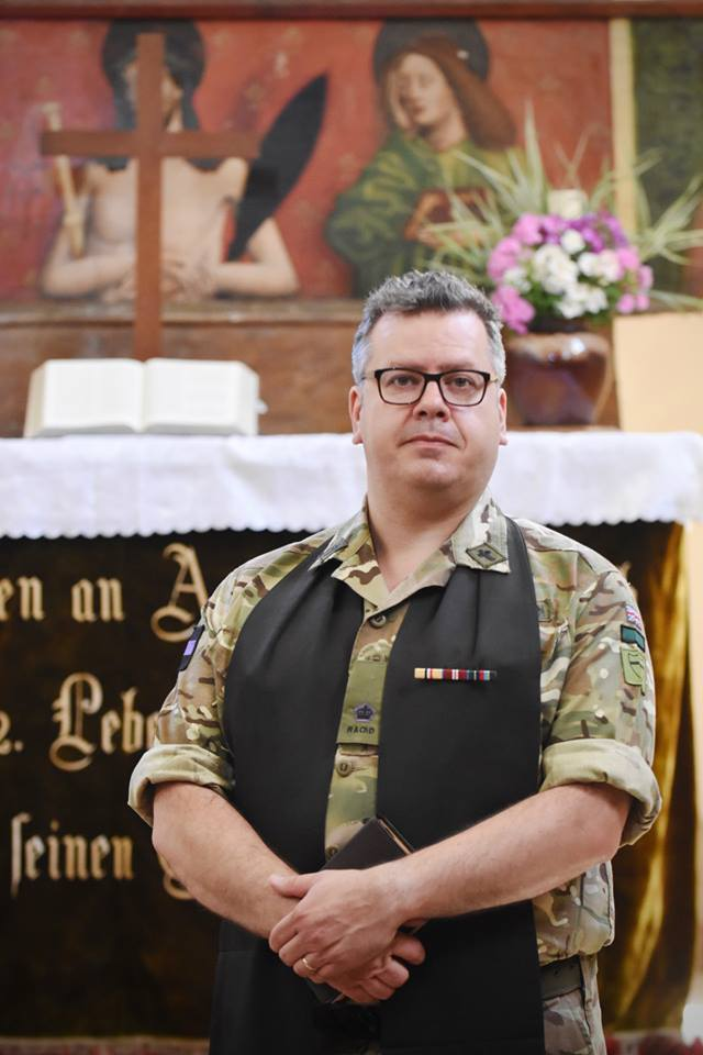 The Padre of The Royal Monmouthshire Royal Engineers (Militia) Army Reserve unit took a service at Cincu Romania near the construction exercise #ExRESOLUTECASTLE