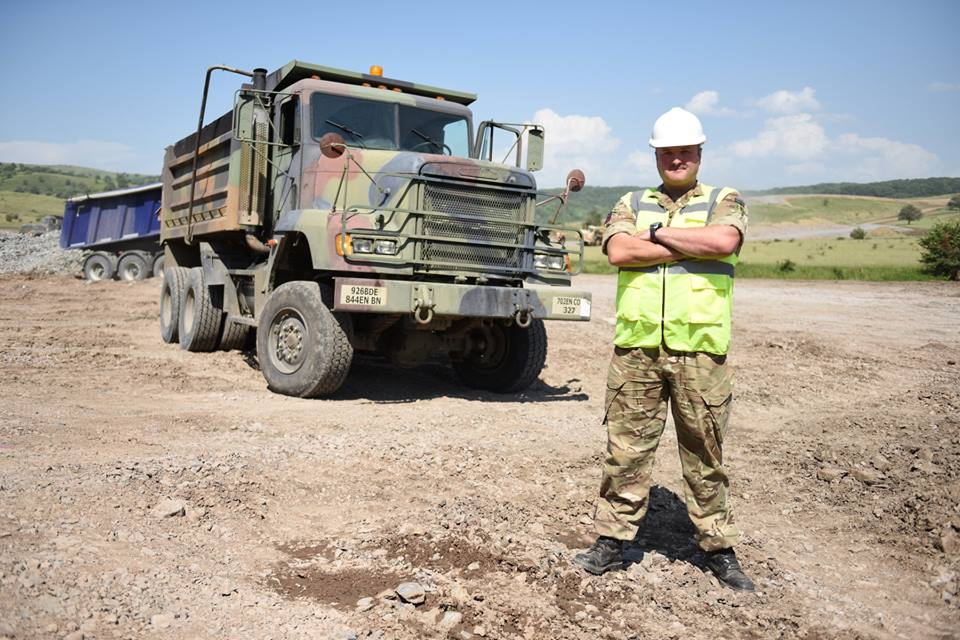 Army Reserve Royal Engineer soldier from the West Midlands based 225 Field Squadron sub-unit of The R Mon RE(M) train on American plant machinery during a joint construction exercise with the Americans in Romania #ExRESOLUTECASTLE