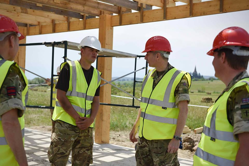 Army Reserve Royal Engineers from West Midlands in Romania #ExRESOLUTECASTLE are visited by Colonel Jones 8 Engineer Brigade