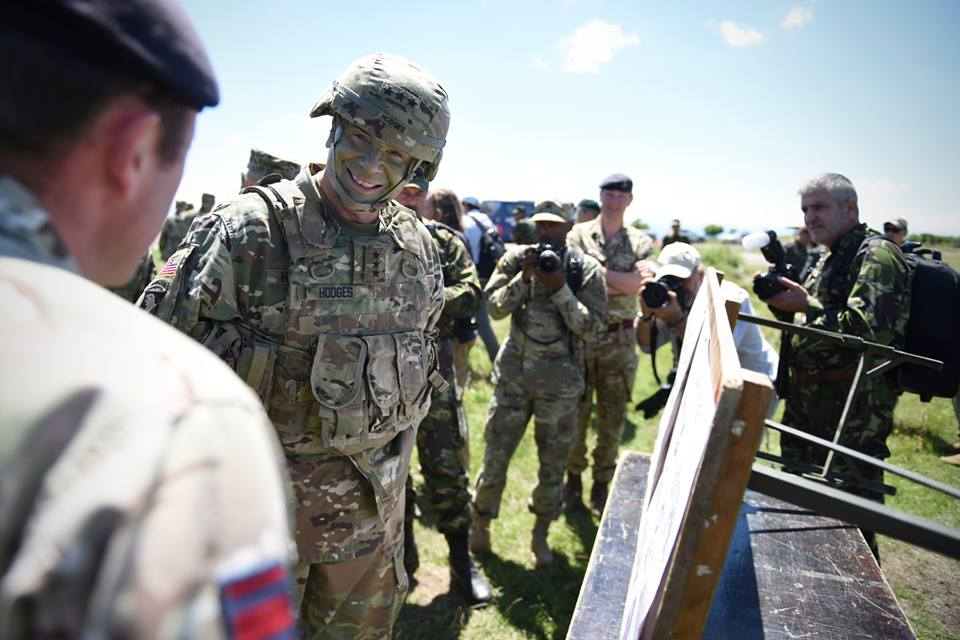 Army Reserve Royal Engineers of The Royal Monmouthshire Royal Engineers (Militia) Jersey Field Squadron sub-unit host the Commander US Army Europe in Romania during #ExRESOLUTECASTLE 2017