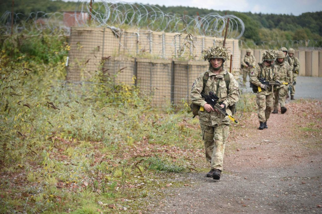 British Army Reserve Royal Engineers of The Royal Monmouthshire Royal Engineers (Militia) practice patrolling during a ' back to basics ' soldier training weekend