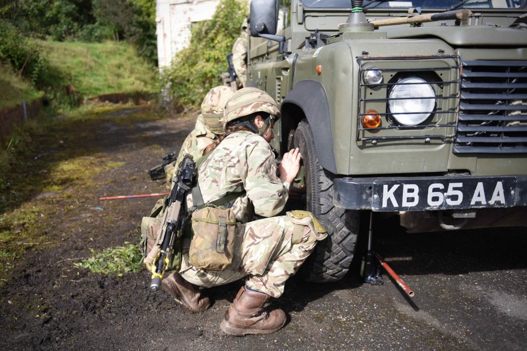 British Army Reserve Royal Engineers of The Royal Monmouthshire Royal Engineers (Militia) practice vehicle recovery on a 'back to basics' soldier training weekend