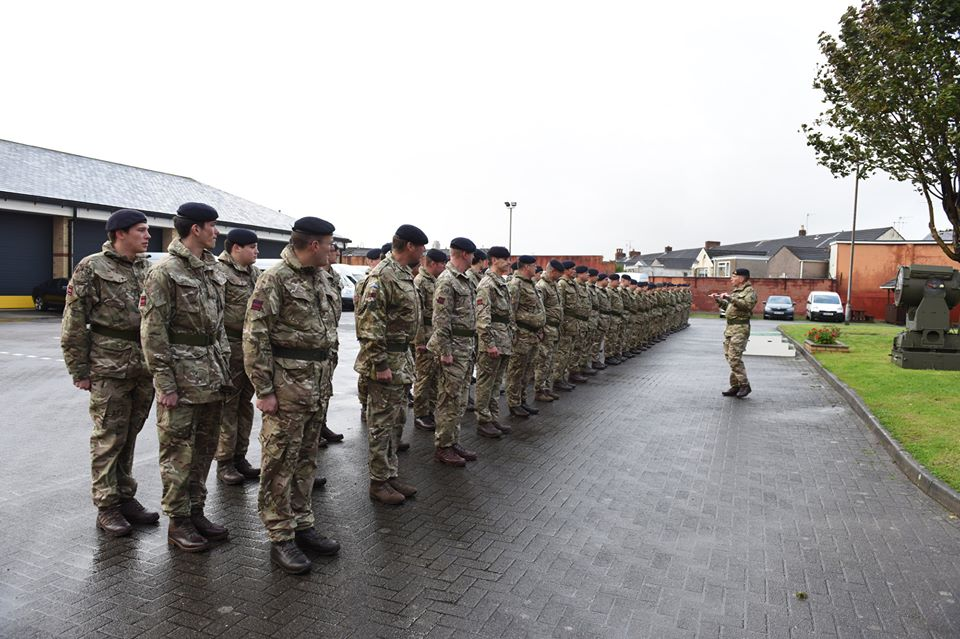 British Army Royal Engineer Reservists of The Royal Monmouthshire Royal Engineers (Militia) gather for the reformation of 108 (Welsh) Field Squadron (Militia) in Swansea.