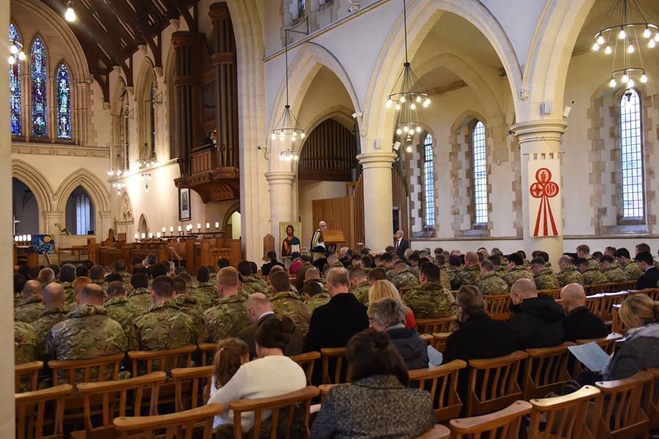 British Army Royal Engineer Reservists of The Royal Monmouthshire Royal Engineers (Militia) gather for the reformation of 108 (Welsh) Field Squadron (Militia) in Swansea at St Mary's