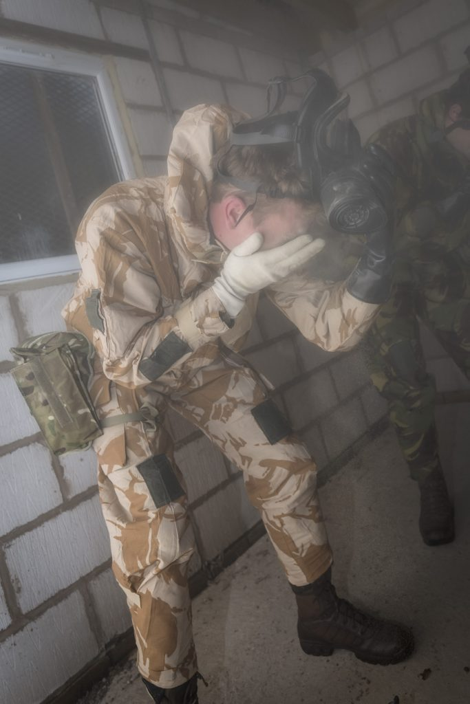 British Army Royal Engineer Reservists from the Royal Monmouthshire Royal Engineers (Militia) conduct CBRN training as part of the MATTs training required in preparation for deployment on Op TRENTON in South Sudan.