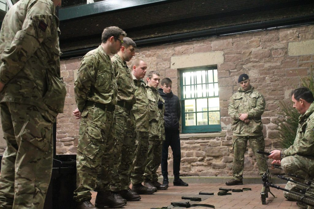 Recruits who hope to become British Army Royal Engineer Reservists from the Royal Monmouthshire Royal Engineers (Militia) attend training to help prepare them for their next steps.