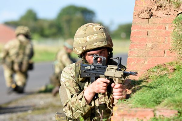 Army Reserve Royal Engineer practices patrolling preparing for Ex Cambrian Patrol