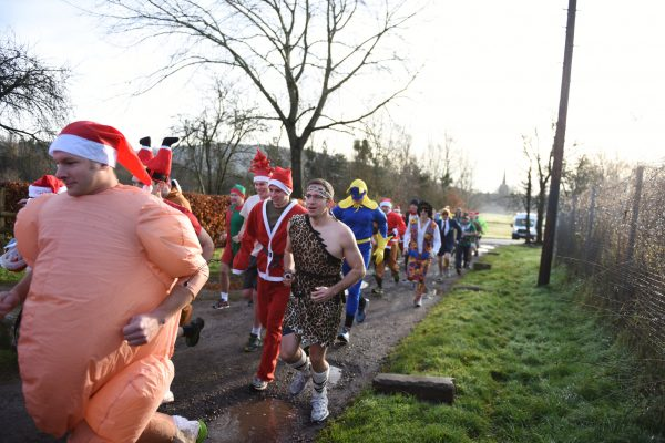 Officers and soldiers of The Royal Monmouthshire Royal Engineers enjoy the fresh air on the 2016 Christmas weekend fun run