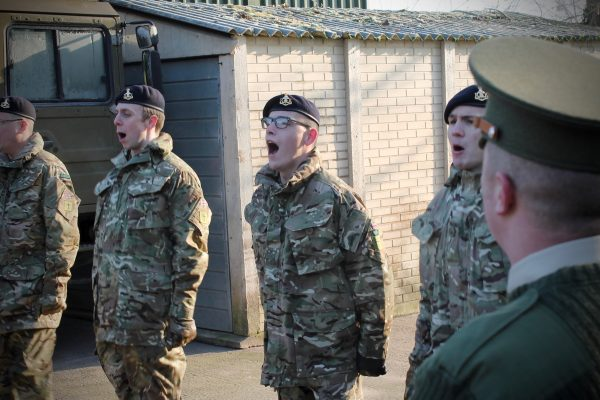 Army Reserve Royal Engineer recruits of the R Mon RE(M) conducting drill training in Monmouth, Wales