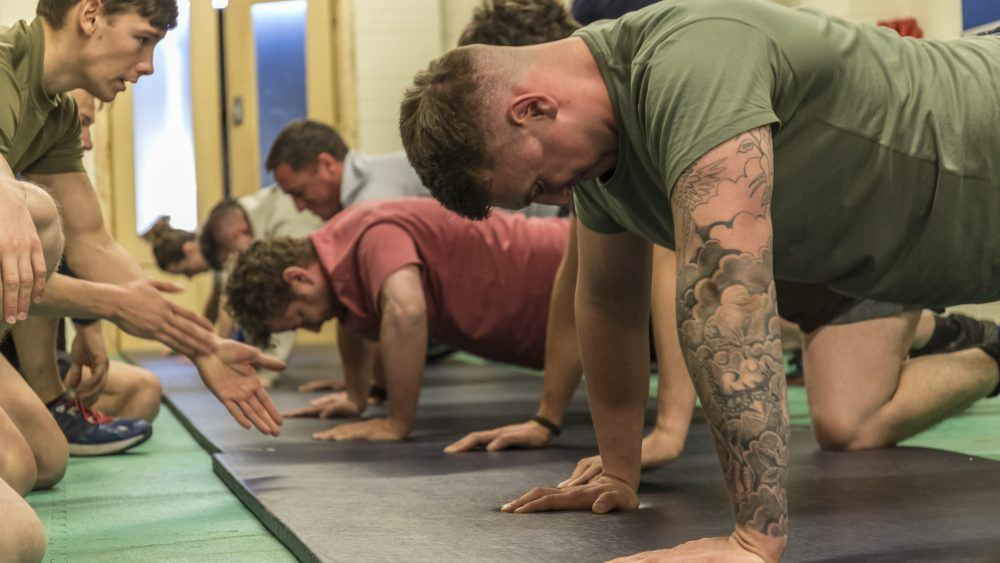 Army Reserve Royal Engineers conduct physical training as they prepare for Op TRENTON