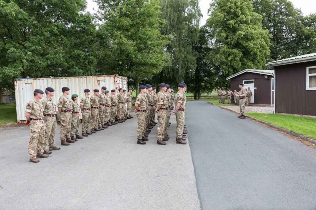 Army Reserve Royal Engineers of The Royal Monmouthshire Royal Engineers (Militia) parade at the start of Ex MILITIA THUNDER their 2018 Annual Camp training.