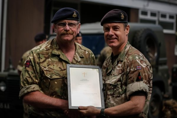 Army Reservist Royal Engineer Captain receives his commendation for outstanding work from Commander 25 (Close Support) Engineer Group.