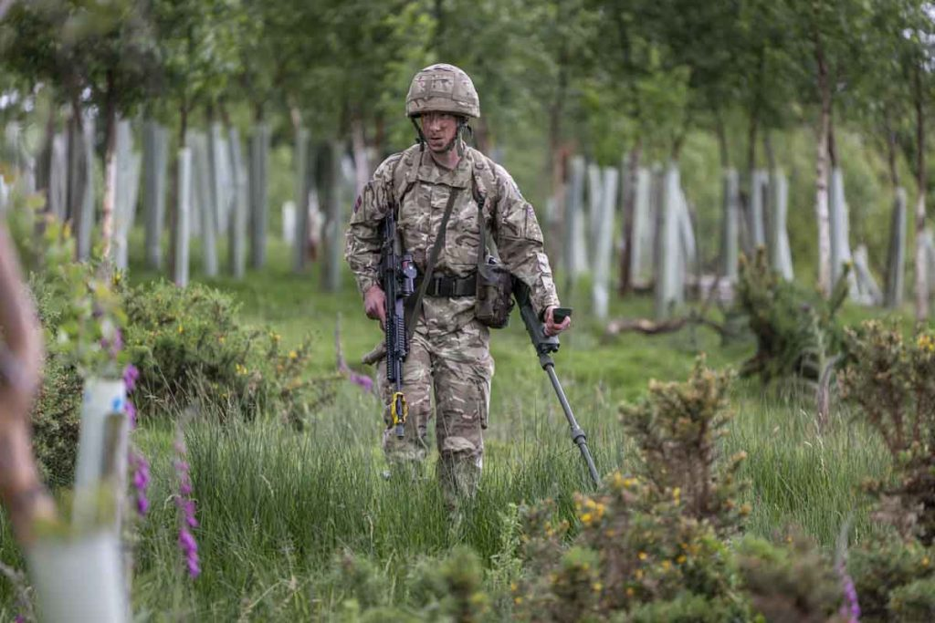 Army Reserve Royal Engineers of The Royal Monmouthshire Royal Engineers (Militia) practice patrolling and counter-IED skills on Ex MILITIA THUNDER their 2018 Annual Camp training.