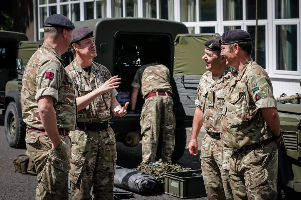 The Commander 25 (Close Support) Engineer Group meets Army Reserve Royal Engineers of The Royal Monmouthshire Royal Engineers (Militia) as they prepare to deploy into the field on Ex MILITIA THUNDER their 2018 Annual Camp training.