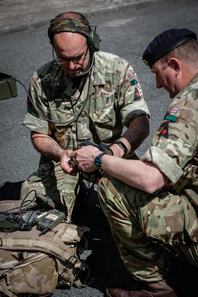 Army Reserve Royal Engineer Signallers of The Royal Monmouthshire Royal Engineers (Militia) conduct checks on their equipment prior to deploying into the field on Ex MILITIA THUNDER their 2018 Annual Camp training.
