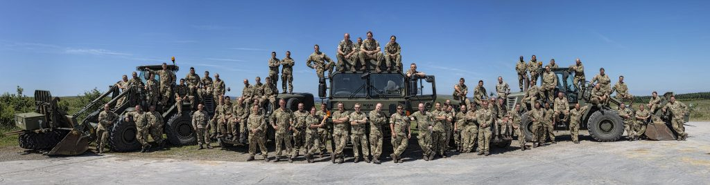 The Officers and Soldiers (Combat Engineers, Plant Operators, Signallers/Communicators, Chefs, Clerks and Medics) pose for the camera at the close of Ex MILITIA THUNDER 18. This has been 2018's Annual Camp for the Army Reserve RE unit.