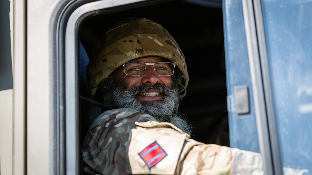 An Army Reservist Royal Engineer Driver of The Royal Monmouthshire Royal Engineers (Militia) as part of the CLP (Combat Logistics Patrol) deploying to the FOB (Forward Operating Base) during Ex MILITIA THUNDER 18, the 2018 Annual Camp for this Royal Engineer unit.