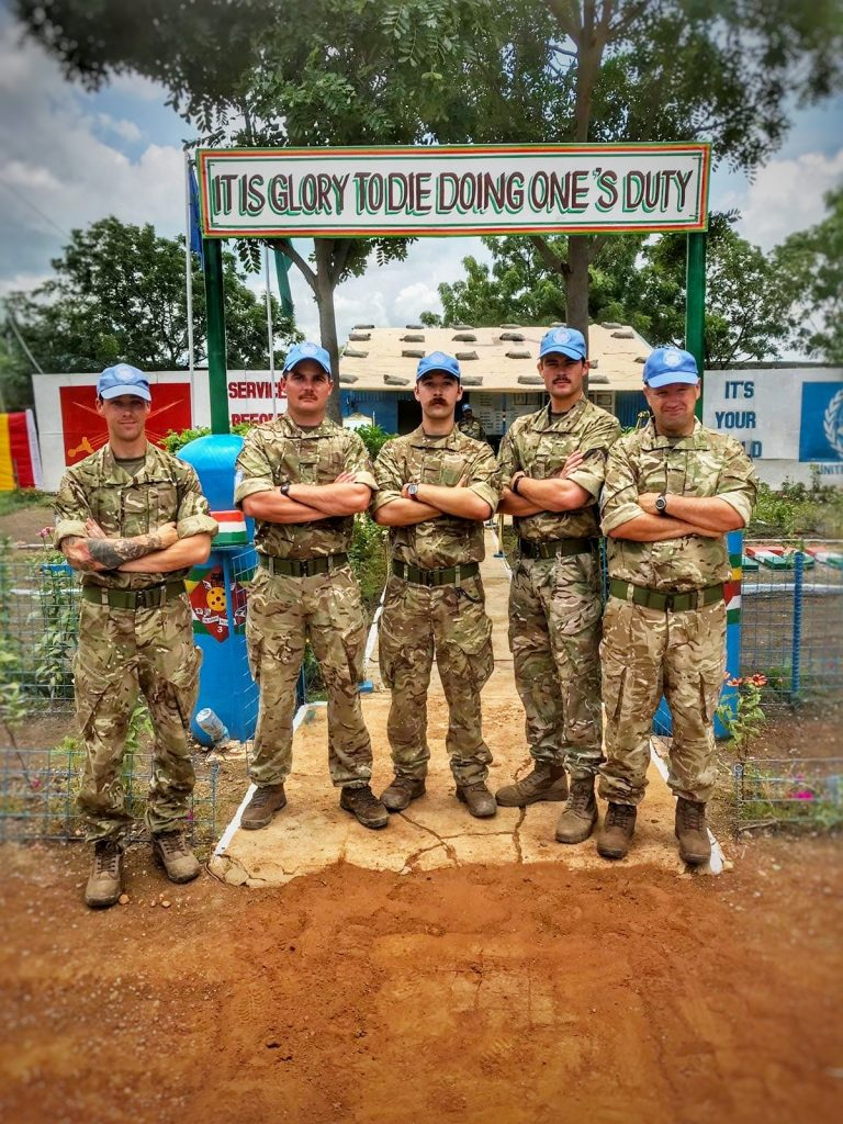 A Royal Monmouthshire Royal Engineers (Militia) soldier, deployed on operations to South Sudan as part of UNMISS, at the Indian Battalion Headquarters.
