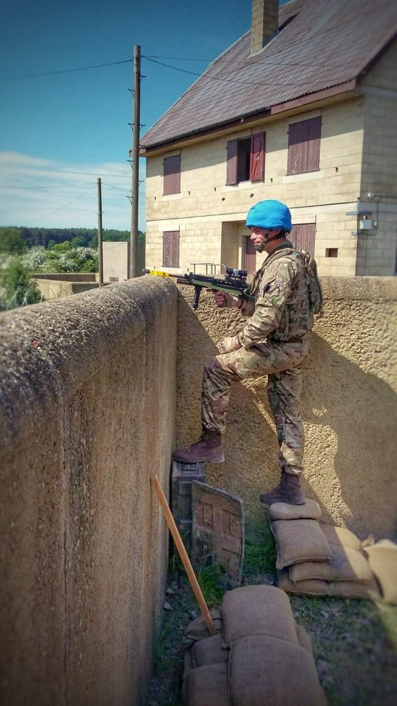 A Royal Monmouthshire Royal Engineers (Militia) soldier, deployed on operations to South Sudan as part of UNMISS, stood to at the MRX.