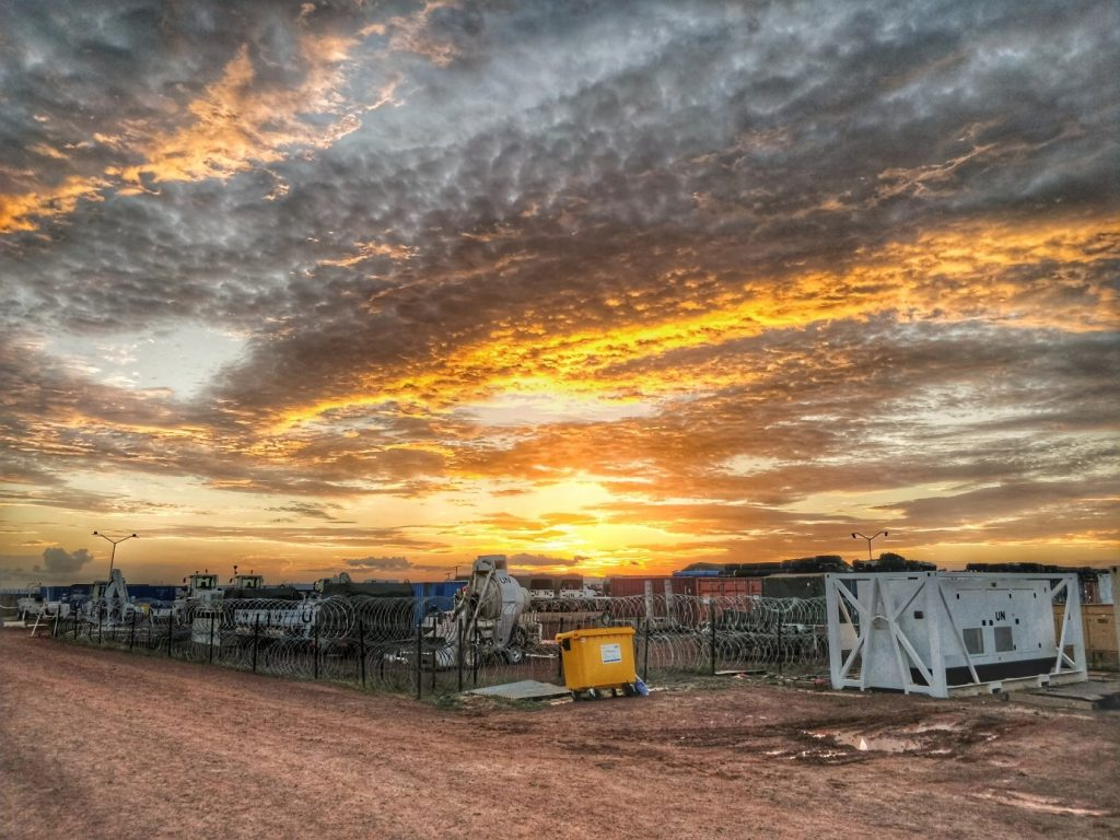 A Royal Monmouthshire Royal Engineers (Militia) soldier, deployed on operations to South Sudan as part of UNMISS, sends back a picture of a Sudanese sunset over his UN camp.